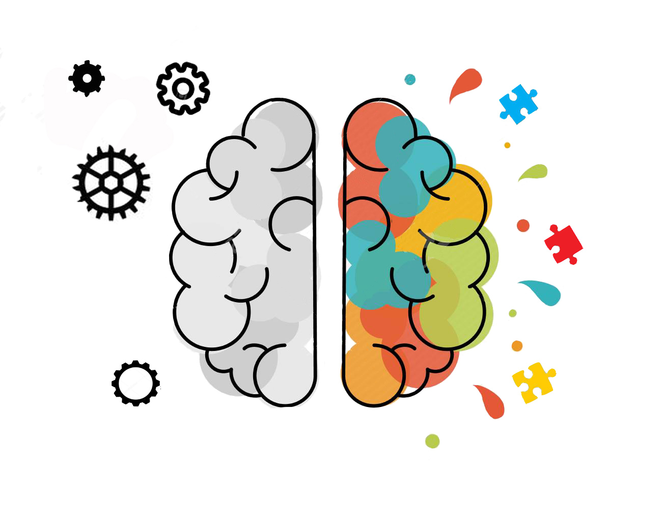 Human brain hemisphere concept illustration of rational and creative thinking. Ideal for new ideas in business or artistic project. EPS10 vector.